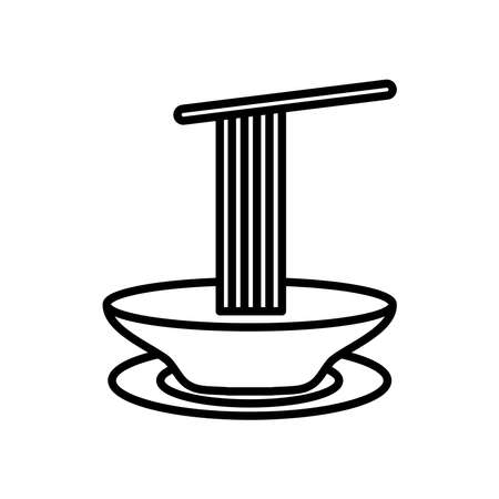 dish with spaguettis icon over white background, line style, vector illustration Ilustração