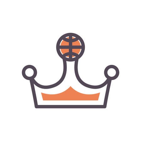 Ball on crown line and fill style icon design, Basketball sport hobby competition and game theme Vector illustration