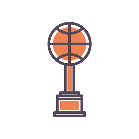 Ball trophy line and fill style icon design, Basketball sport hobby competition and game theme Vector illustration