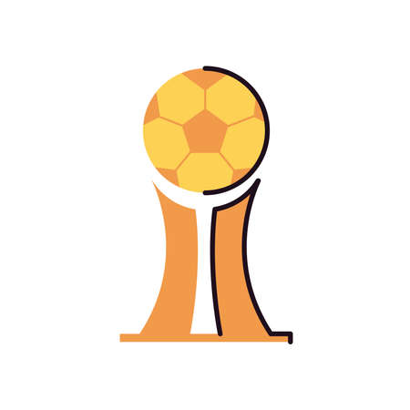 Ball trophy line and fill style icon design, Soccer football sport hobby competition and game theme Vector illustration Stock Illustratie
