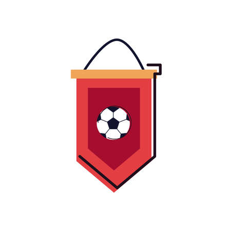 Ball banner line and fill style icon design, Soccer football sport hobby competition and game theme Vector illustration Stock Illustratie