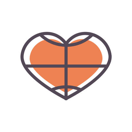 Ball heart line and fill style icon design, Basketball sport hobby competition and game theme Vector illustration Stock Illustratie