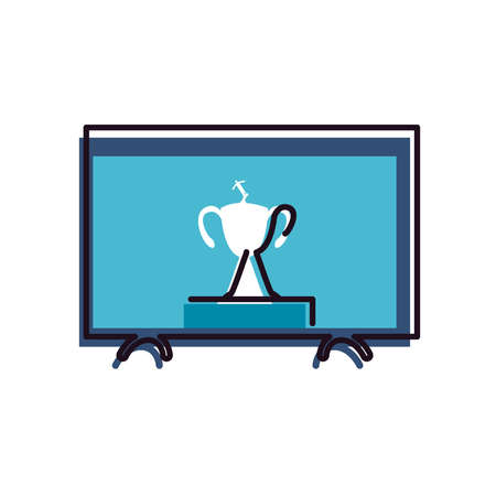 trophy on tv line and fill style icon design, Soccer football sport hobby competition and game theme Vector illustration