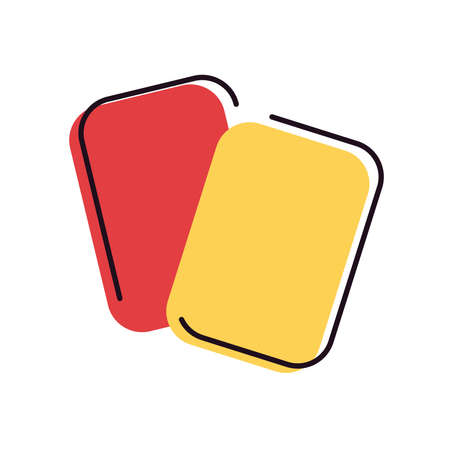 red and yellow card line and fill style icon design, Soccer football sport hobby competition and game theme Vector illustration Stock Illustratie