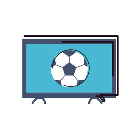 Ball on tv line and fill style icon design, Soccer football sport hobby competition and game theme Vector illustration Stock Illustratie