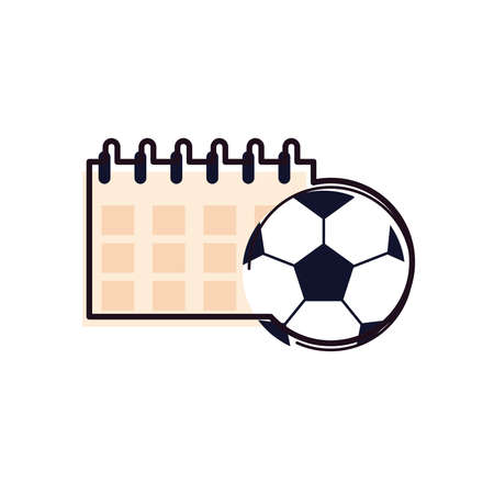 Ball and calendar line and fill style icon design, Soccer football sport hobby competition and game theme Vector illustration