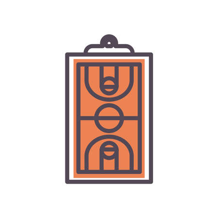 court line and fill style icon design, Basketball sport hobby competition and game theme Vector illustration