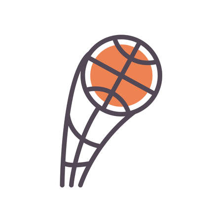 Ball line and fill style icon design, Basketball sport hobby competition and game theme Vector illustration