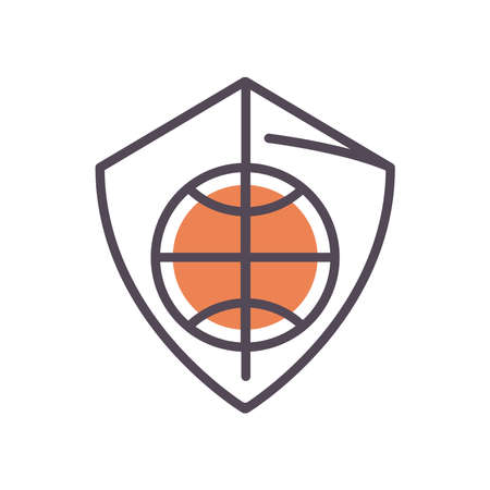 Ball on shield line and fill style icon design, Basketball sport hobby competition and game theme Vector illustration Stock Illustratie