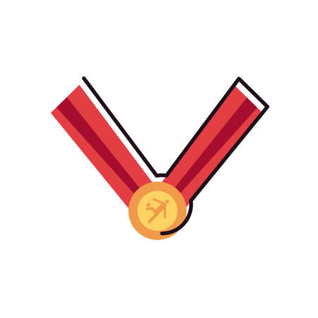 medal line and fill style icon design, Soccer football sport hobby competition and game theme Vector illustration Stock Illustratie
