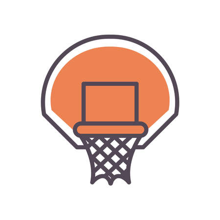 Basket line and fill style icon design, Basketball sport hobby competition and game theme Vector illustration
