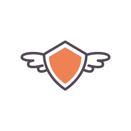Shield with wings line and fill style icon design, Label tag banner product and protection theme Vector illustration