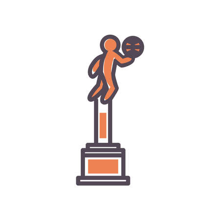 Player with ball trophy line and fill style icon design, Basketball sport hobby competition and game theme Vector illustration