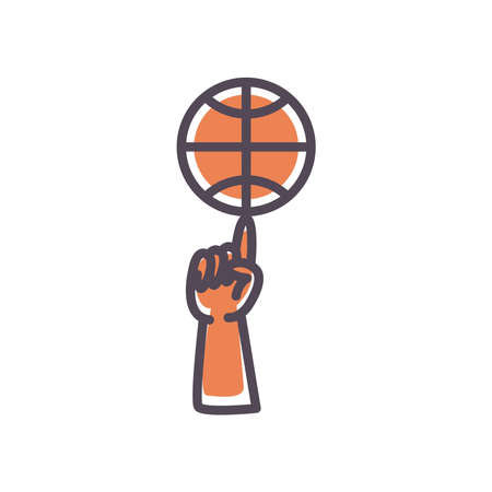 Ball on finger line and fill style icon design, Basketball sport hobby competition and game theme Vector illustration