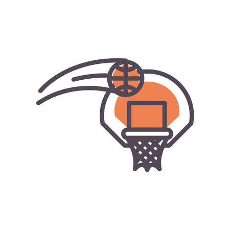 Basket ball and hoop line and fill style icon design, Basketball sport hobby competition and game theme Vector illustration Stock Illustratie