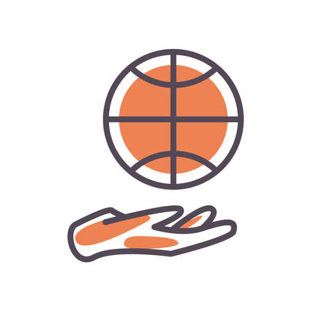 Ball over hand line and fill style icon design, Basketball sport hobby competition and game theme Vector illustration