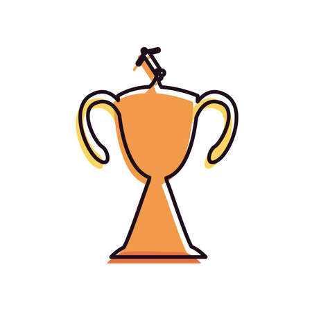 Player with ball on trophy line and fill style icon design, Soccer football sport hobby competition and game theme Vector illustration