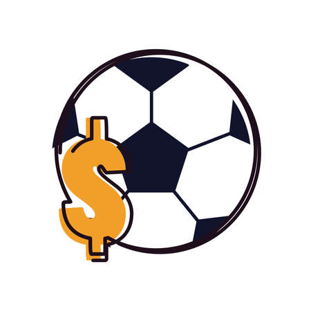 Ball with dollar line and fill style icon design, Soccer football sport hobby competition and game theme Vector illustration Stock Illustratie