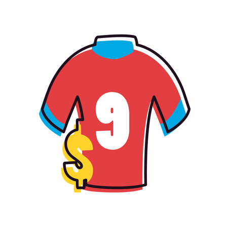 tshirt and dollar line and fill style icon design, Soccer football sport hobby competition and game theme Vector illustration