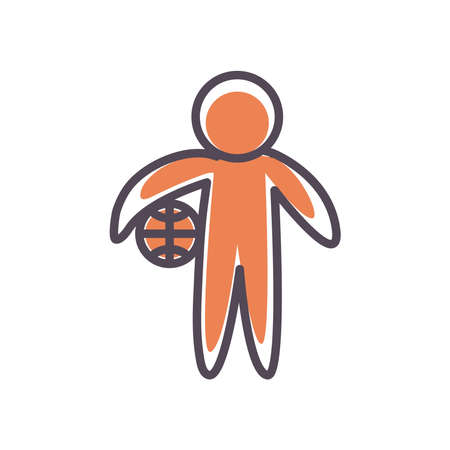 Player with ball line and fill style icon design, Basketball sport hobby competition and game theme Vector illustration Stock Illustratie