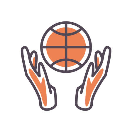 Ball between hands line and fill style icon design, Basketball sport hobby competition and game theme Vector illustration
