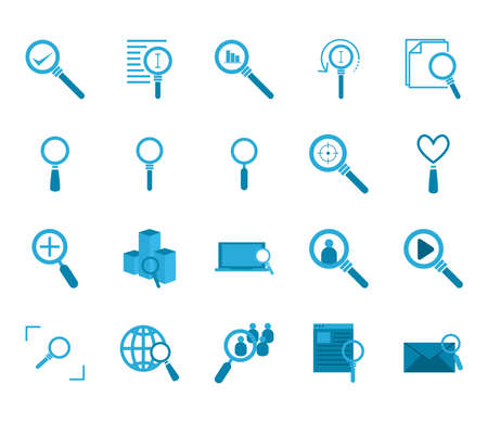 lupes flat style icon set design, Searching theme Vector illustration Stock Illustratie