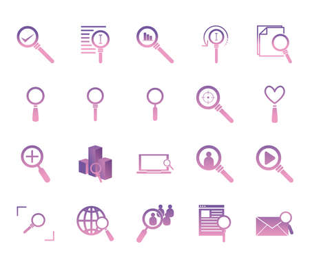 lupes gradient style icon set design, Searching theme Vector illustration