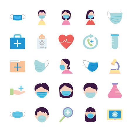 chemical flask and medical care icon set over white background, flat style, vector illustration