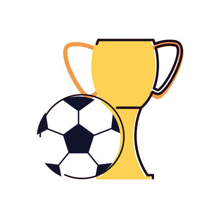 Ball and trophy line and fill style icon design, Soccer football sport hobby competition and game theme Vector illustration
