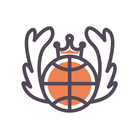 Ball with crown line and fill style icon design, Basketball sport hobby competition and game theme Vector illustration