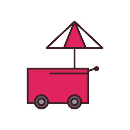 fast food cart with umbrella line and fill style icon design, eat and urban theme Vector illustration