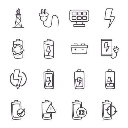 line style icon set design, eco energy power technology charge and eco theme illustration Ilustracja