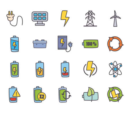 line and fill style icon set design, eco energy power technology charge and eco theme Vector illustration