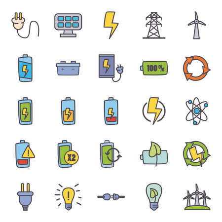 line and fill style icon set design, eco energy power technology charge and eco theme illustration