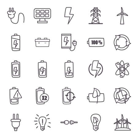 line style icon set design, eco energy power technology charge and eco theme Vector illustration Ilustracja
