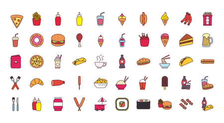 line and fill style icon set design, fast food eat restaurant and menu theme Vector illustration
