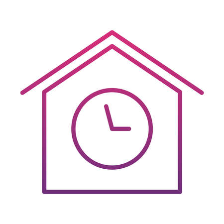 house with clock icon over white background, gradient style, vector illustration Ilustração