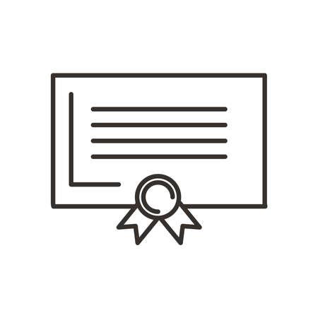 Graduation certificate line style icon design, University education school college academic ceremony degree and student theme Vector illustration 矢量图像