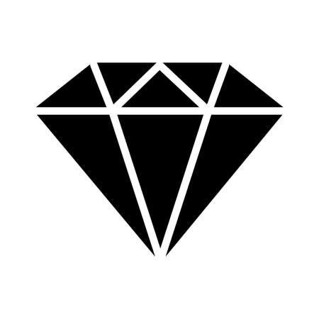 diamond gem icon over white background, silhouette style, vector illustration Ilustración de vector