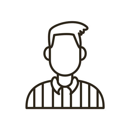 referee avatar line style icon design, Basketball sport hobby competition and game theme Vector illustration