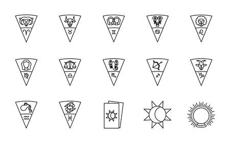 astrology signs and symbols icon set over white background, line style, vector illustration