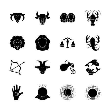 astrology signs icon set over white background, silhouette style, vector illustration