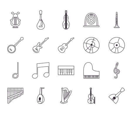 line style icon set design, Music instruments sound melody song musical art and composition theme Vector illustration