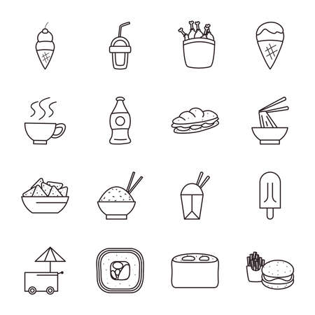 line style icon set design, fast food eat restaurant and menu theme Vector illustration