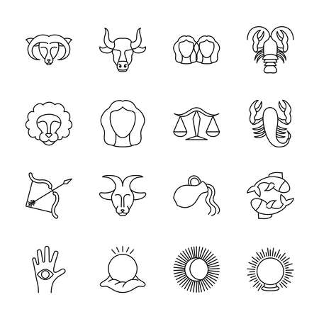 sun and astrology signs icon set over white background, line style, vector illustration Illustration