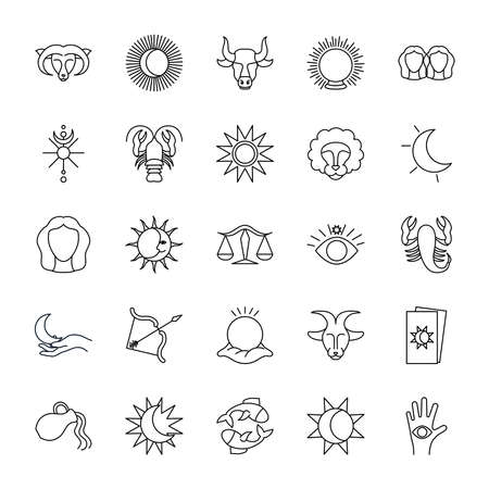 magic ball and astrology icon set over white background, line style, vector illustration Illustration