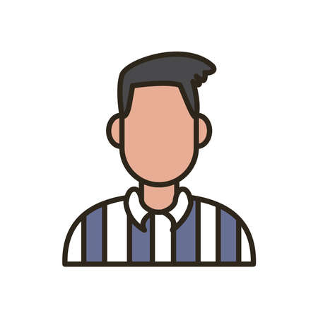 referee avatar line and fill style icon design, Basketball sport hobby competition and game theme Vector illustration