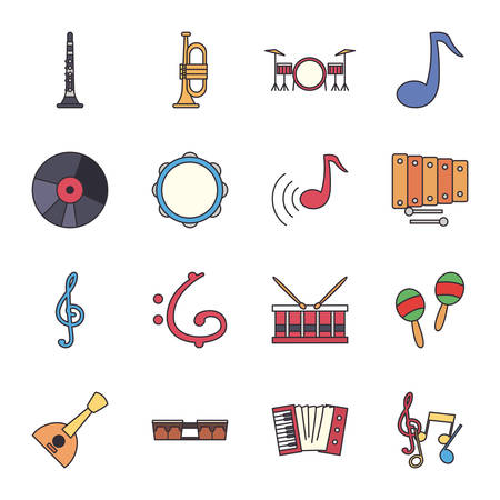line and fill style icon set design, Music instruments sound melody song musical art and composition theme Vector illustration