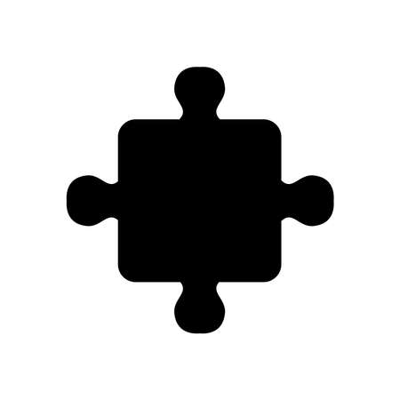jigsaw piece icon over white background, silhouette style, vector illustration