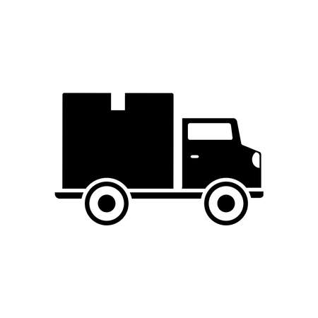 cargo truck with box icon over white background, silhouette style, vector illustration